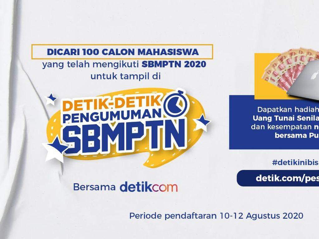 Dicari! 100 Calon Mahasiswa Peserta SBMPTN 2020 untuk Tampil di detikcom!