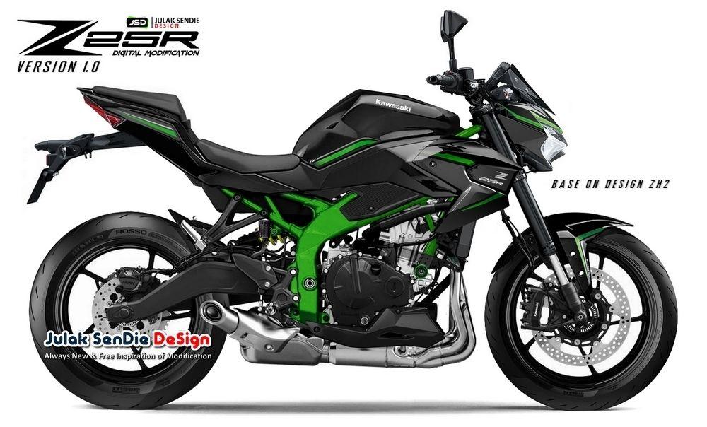 Gambar rendering Kawasaki Ninja ZX-25R versi naked