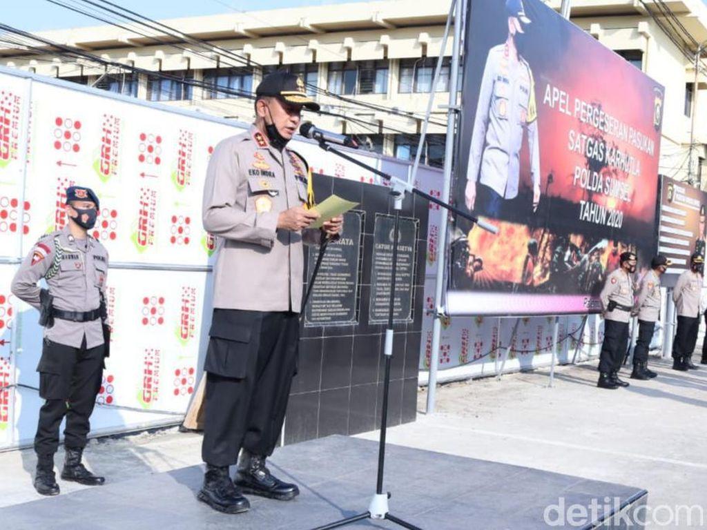 Kapolda Sumsel Terjunkan Ratusan Personel ke 5 Daerah Rawan Karhutla