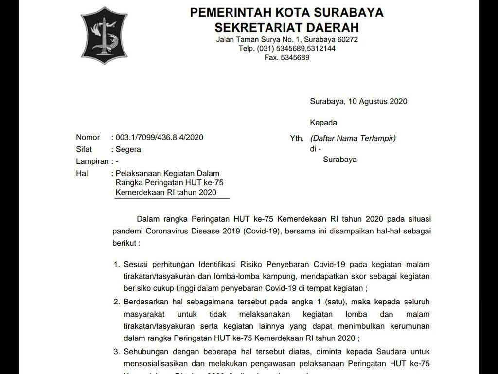 Pro Kontra Ketua RW di Surabaya soal Imbauan Tak Gelar Lomba HUT RI