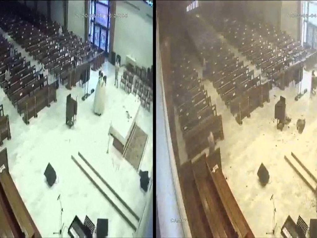 Ledakan Lebanon Terjadi saat Misa, Terekam CCTV Gereja