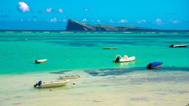 BAIN BOEUF Mauriutius. Beautiful beach in northern Mauritius. Coin de Mire, white sand beach among Palm trees.