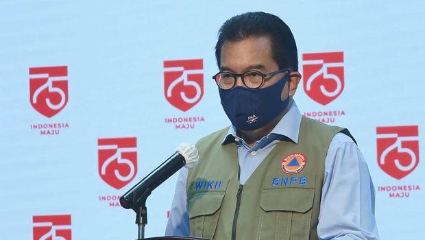 Turn off for: IndonesianJubir Satgas Covid Wiku Adisasmito memberikan keterangan, Selasa (11/8) / Foto: Biro Pers Setpers