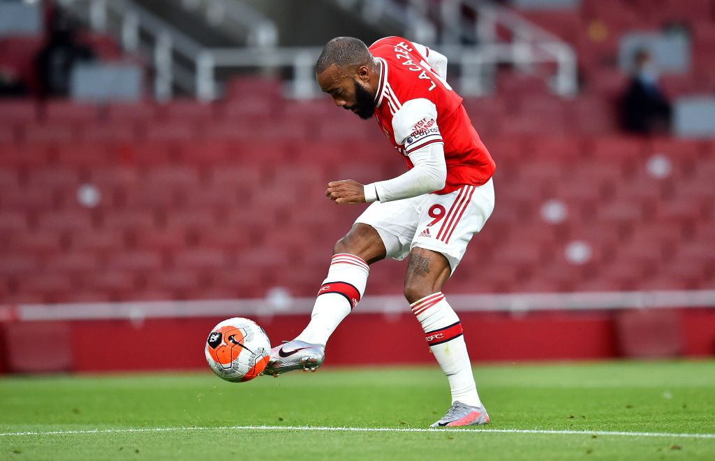 LONDON, ENGLAND - JULY 07: Alexandre Lacazette of Arsenal reacts during the Premier League match between Arsenal FC and Leicester City at Emirates Stadium on July 07, 2020 in London, England. Football Stadiums around Europe remain empty due to the Coronavirus Pandemic as Government social distancing laws prohibit fans inside venues resulting in all fixtures being played behind closed doors. (Photo by Michael Regan/Getty Images)