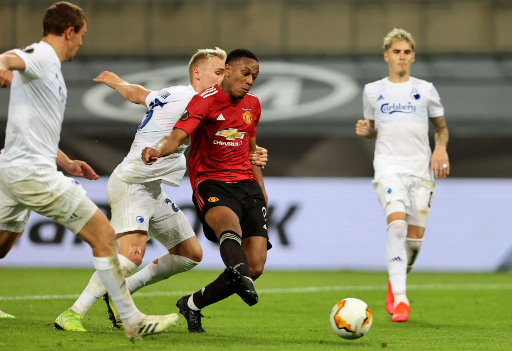 COLOGNE, GERMANY - AUGUST 10: Anthony Martial of Manchester United reacts during the UEFA Europa League Quarter Final between Manchester United and FC Kobenhavn at RheinEnergieStadion on August 10, 2020 in Cologne, Germany. (Photo by Wolfgang Rattay/Pool via Getty Images)