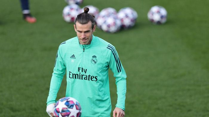 MADRID, SPAIN - FEBRUARY 25: Gareth Bale of Real Madrid looks on during a training session ahead of their UEFA Champions League round of 16 first leg match against Manchester City at Valdebebas training ground on February 25, 2020 in Madrid, Spain. (Photo by Angel Martinez/Getty Images)