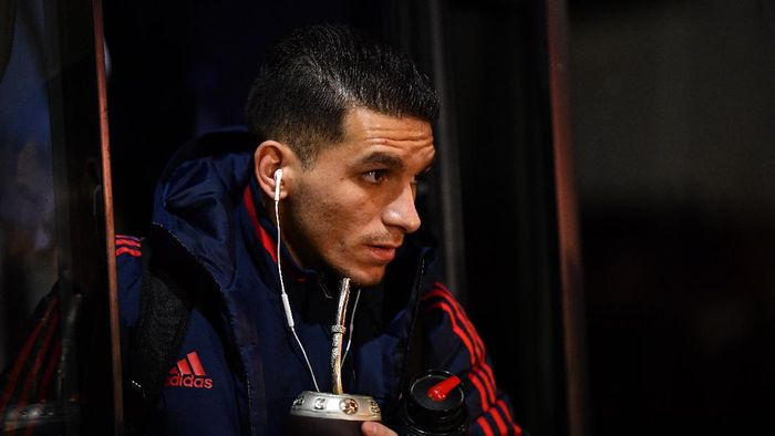BOURNEMOUTH, ENGLAND - JANUARY 27: Lucas Torreira of Arsenal arrives at the stadium prior to the FA Cup Fourth Round match between AFC Bournemouth and Arsenal at Vitality Stadium on January 27, 2020 in Bournemouth, England. (Photo by Justin Setterfield/Getty Images)