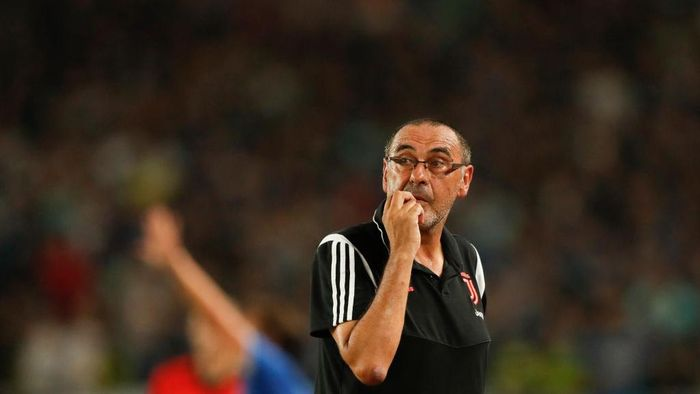 NANJING, CHINA - JULY 24: Head coach Maurizio Sarri of Juventus looks on during the International Champions Cup match between Juventus and FC Internazionale at the Nanjing Olympic Center Stadium on July 24, 2019 in Nanjing, China. (Photo by Fred Lee/Getty Images)