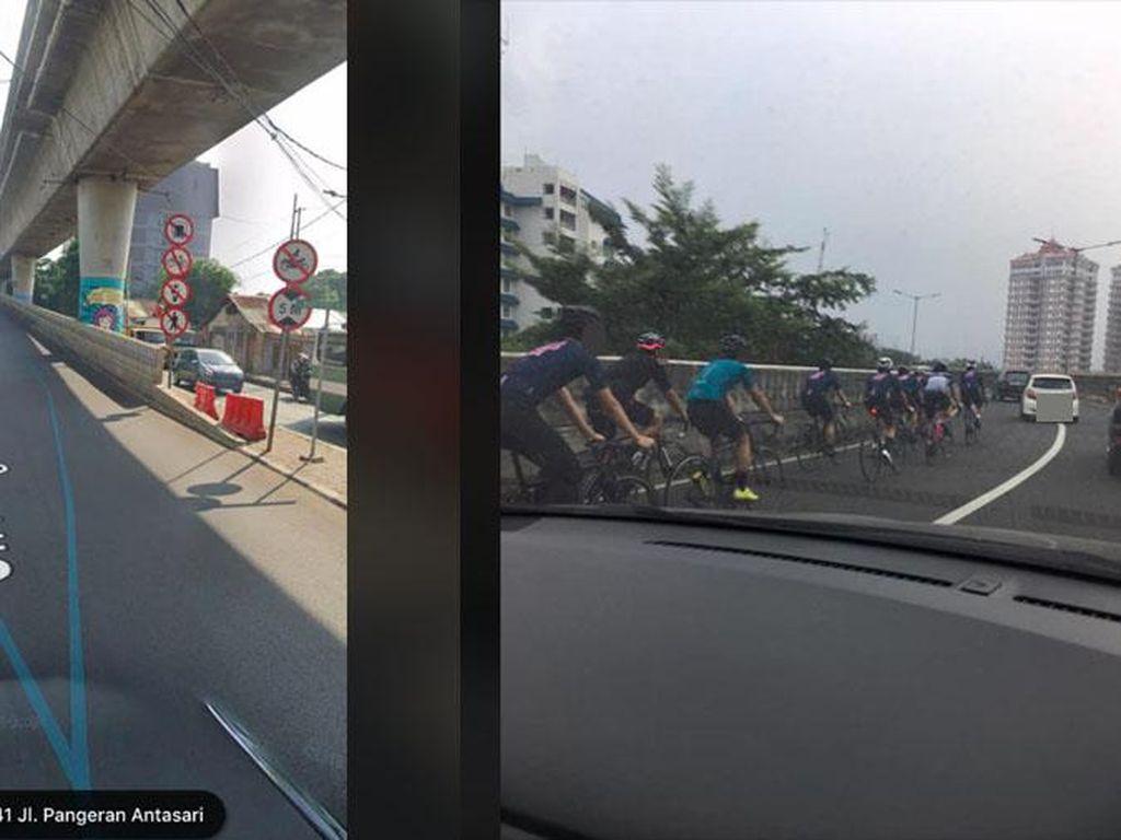Duh! Kok Masih Ada Pesepeda yang Bergerombol Naik JLNT Antasari Sih?