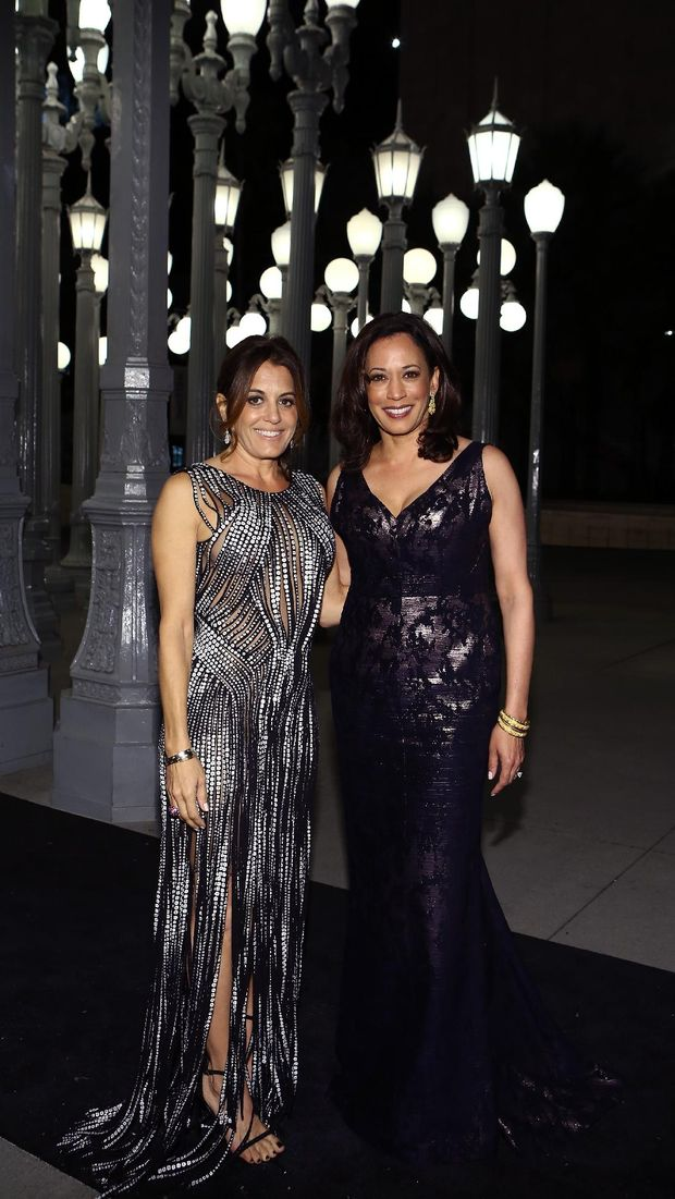 LOS ANGELES, CA - NOVEMBER 01: Laura Wasserman (L) and California Attorney General Kamala Harris attend the 2014 LACMA Art + Film Gala honoring Barbara Kruger and Quentin Tarantino presented by Gucci at LACMA on November 1, 2014 in Los Angeles, California.   Rich Polk/Getty Images for LACMA/AFP