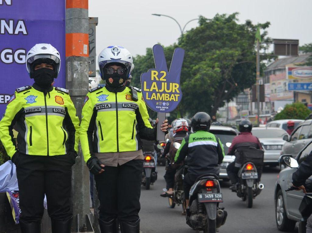 Polisi Mulai Tindak Motor Masuk Jalur Cepat Margonda Depok Pagi Ini