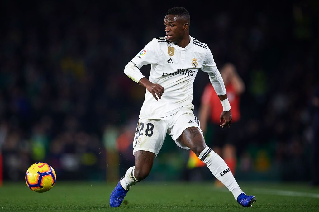 MADRID, SPAIN - FEBRUARY 26: Vinicius JR of Real Madrid CF looks on during the UEFA Champions League round of 16 first leg match between Real Madrid and Manchester City at Bernabeu on February 26, 2020 in Madrid, Spain. (Photo by David Ramos/Getty Images)