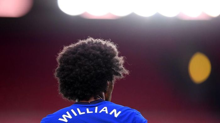 LIVERPOOL, ENGLAND - JULY 22: A close up view of Willian of Chelsea during the Premier League match between Liverpool FC and Chelsea FC at Anfield on July 22, 2020 in Liverpool, England. Football Stadiums around Europe remain empty due to the Coronavirus Pandemic as Government social distancing laws prohibit fans inside venues resulting in all fixtures being played behind closed doors. (Photo by Laurence Griffiths/Getty Images)