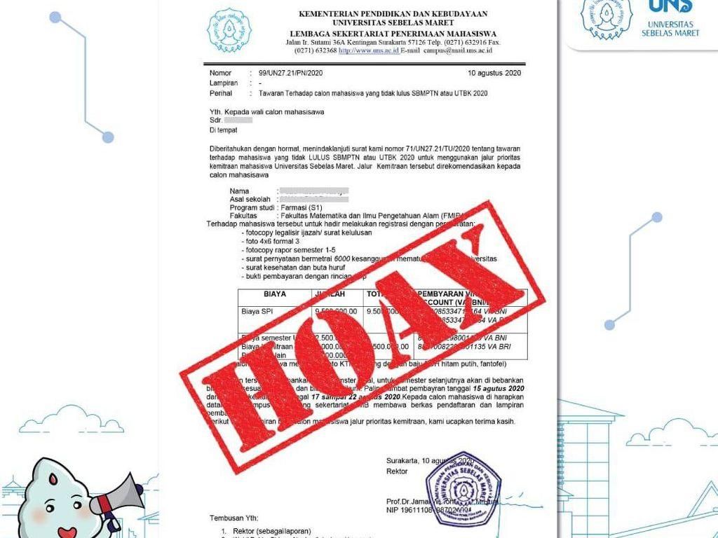 Ada Info Jalur Berbiaya Belasan Juta untuk yang Tak Lolos SBMPTN, UNS: Hoaks!