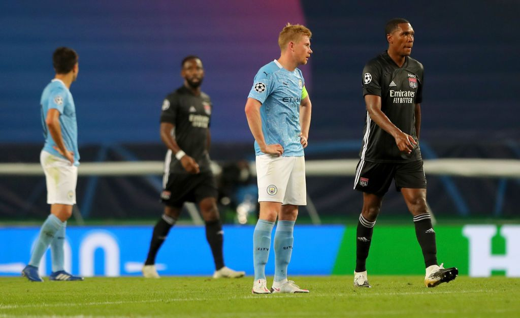 LISBON, PORTUGAL - AUGUST 15: Kevin De Bruyne of Manchester City looks dejected after conceding during the UEFA Champions League Quarter Final match between Manchester City and Lyon at Estadio Jose Alvalade on August 15, 2020 in Lisbon, Portugal. (Photo by Miguel A. Lopes/Pool via Getty Images)