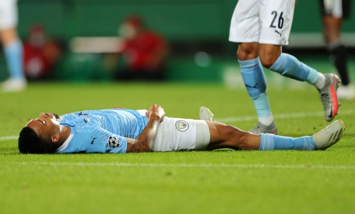 LISBON, PORTUGAL - AUGUST 15: Gabriel Jesus of Manchester City looks dejected during the UEFA Champions League Quarter Final match between Manchester City and Lyon at Estadio Jose Alvalade on August 15, 2020 in Lisbon, Portugal. (Photo by Miguel A. Lopes/Pool via Getty Images)