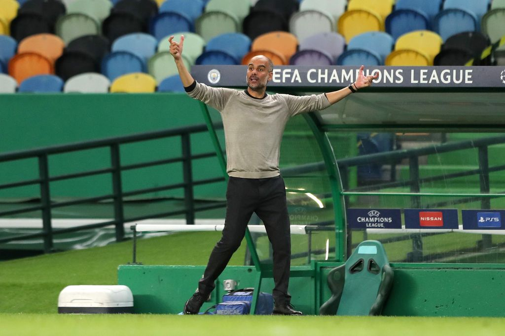 LISBON, PORTUGAL - AUGUST 15: Pep Guardiola, Manager of Manchester City reacts during the UEFA Champions League Quarter Final match between Manchester City and Lyon at Estadio Jose Alvalade on August 15, 2020 in Lisbon, Portugal. (Photo by Miguel A. Lopes/Pool via Getty Images)