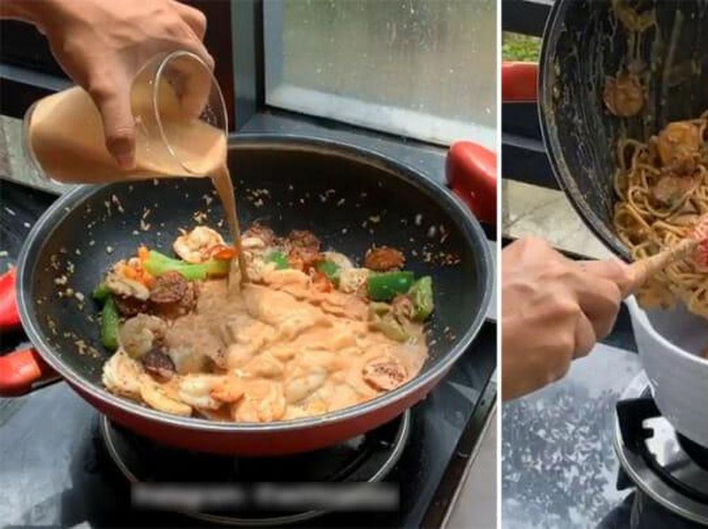 Bukan Susu, Spaghetti Carbonara Ini Diracik Pakai Teh Tarik