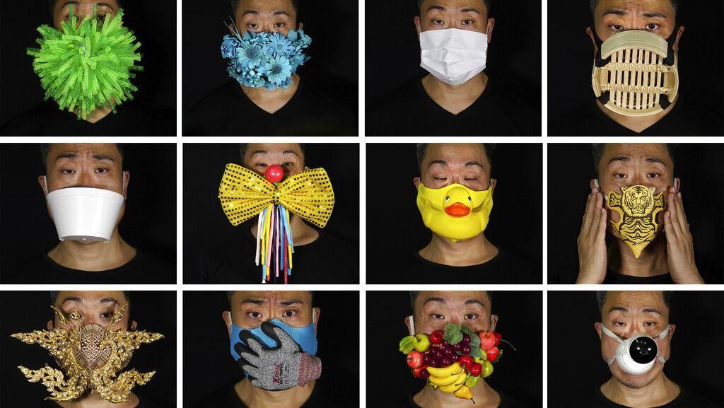 Unik! Pria Ini Bikin Masker dari Tempat Makan hingga Kamera CCTV