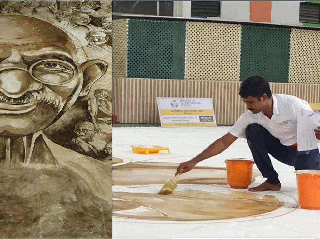 Keren! Seniman India Bikin Lukisan Mahatma Gandhi Terbesar Pakai Kopi