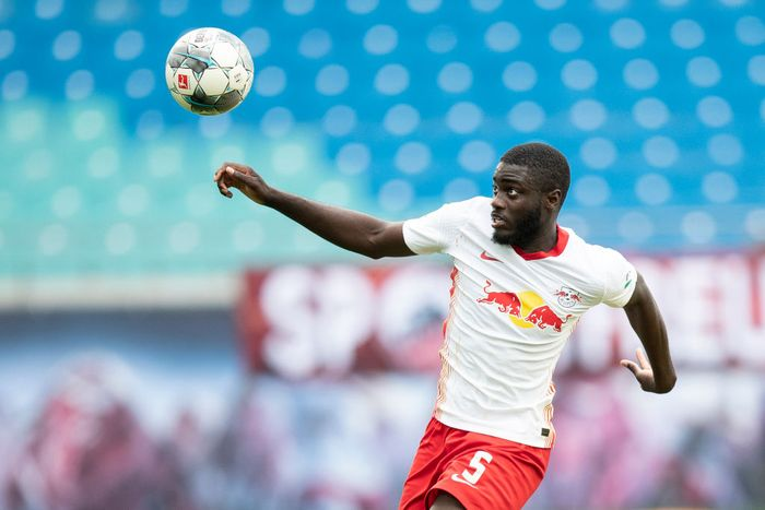 LEIPZIG, GERMANY - JUNE 20: Dayot Upamecano of RB Leipzig controls the ball during the Bundesliga match between RB Leipzig and Borussia Dortmund at Red Bull Arena on June 20, 2020 in Leipzig, Germany. (Photo by Maja Hitij/Getty Images)