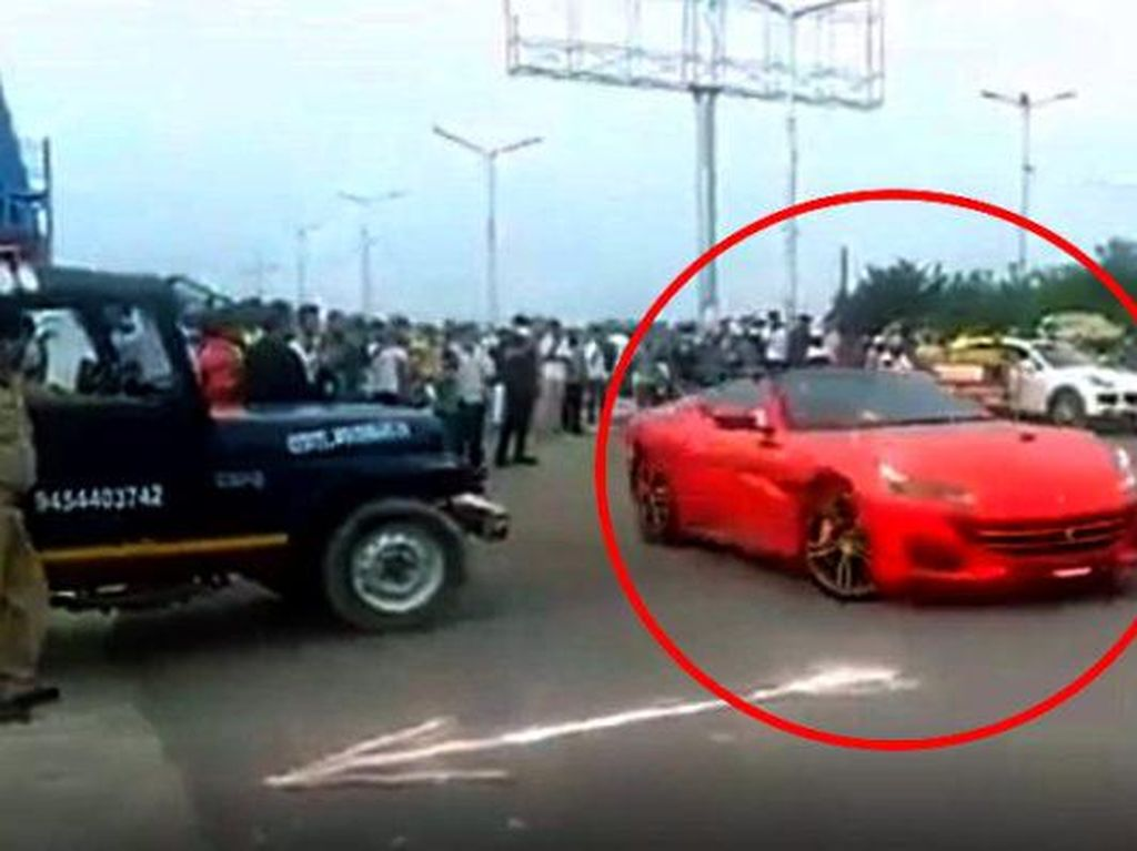 Gaya-gayaan Ngedrift Pakai Ferrari, Berujung Mobil Disita Polisi