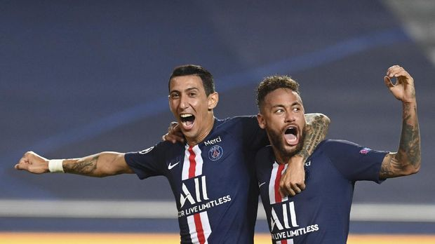 PSG's Angel Di Maria, left, celebrates after scoring his side's second goal with PSG's Neymar during the Champions League semifinal soccer match between RB Leipzig and Paris Saint-Germain at the Luz stadium in Lisbon, Portugal, Tuesday, Aug. 18, 2020. (David Ramos/Pool Photo via AP)