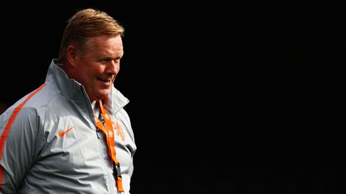 GUIMARAES, PORTUGAL - JUNE 05: Head coach / Manager, Ronald Koeman looks on during the Netherlands Media Access Session held at Estadio D. Afonso Henriques on June 05, 2019 in Guimaraes, Portugal. (Photo by Dean Mouhtaropoulos/Getty Images)
