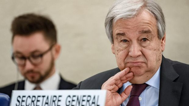 UN Secretary-General Antonio Guterres looks on during the opening of the UN Human Rights Council's main annual session on February 24, 2020 in Geneva. - The UN's secretary general launched a