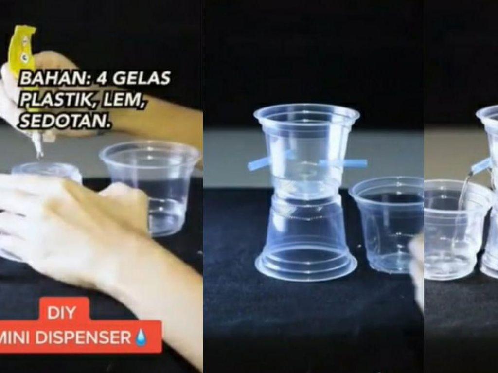 Gabut di Rumah, Netizen Ini Bikin Dispenser Mini Pakai Gelas Plastik