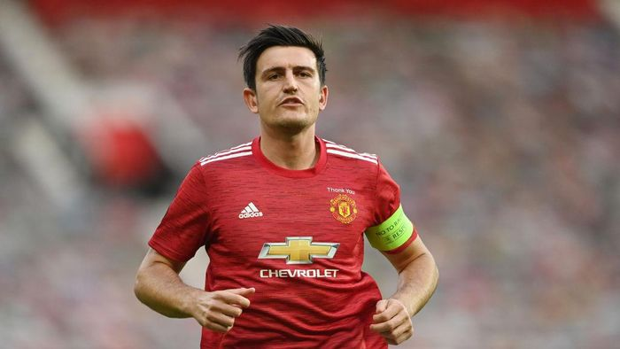 MANCHESTER, ENGLAND - AUGUST 05: Harry Maguire of Manchester United in action during the UEFA Europa League round of 16 second leg match between Manchester United and LASK at Old Trafford on August 05, 2020 in Manchester, England. (Photo by Michael Regan/Getty Images)