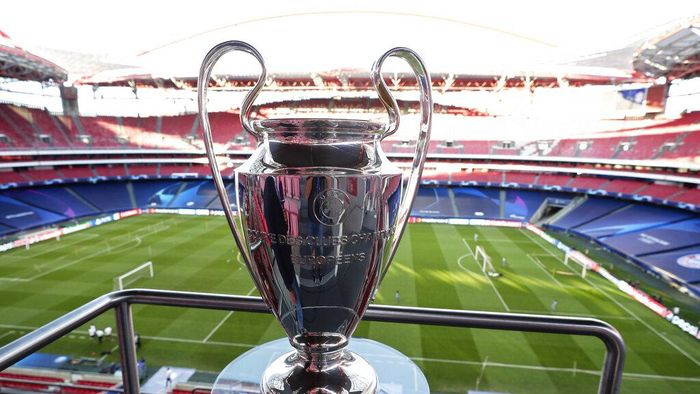 The Champions League trophy is displayed on the stands during during a training session of PSG at the Luz stadium in Lisbon, Saturday Aug. 22, 2020. PSG will play Bayern Munich in the Champions League final soccer match on Sunday. AP Photo/Manu Fernandez, Pool)