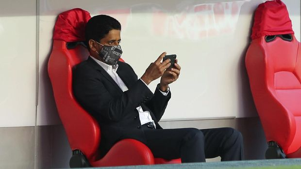 PSG president Nasser Al-Khelaifi sits on the bench during a training session at the Luz stadium in Lisbon, Saturday Aug. 22, 2020. PSG will play Bayern Munich in the Champions League final soccer match on Sunday. (Miguel A. Lopes/Pool via AP)