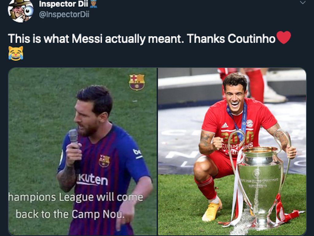 Coutinho Juara Liga Champions, Barca dan Liverpool Kena Sindir Meme