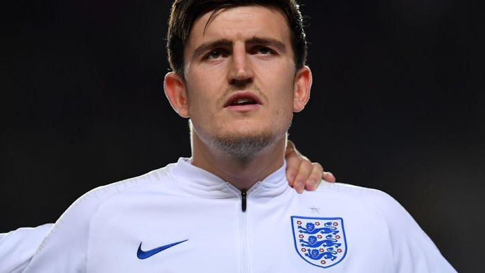 PRAGUE, CZECH REPUBLIC - OCTOBER 11:  Harry Maguire of England sings the national anthem during the UEFA Euro 2020 qualifier between Czech Republic and England at Sinobo Stadium on October 11, 2019 in Prague, Czech Republic. (Photo by Justin Setterfield/Getty Images)