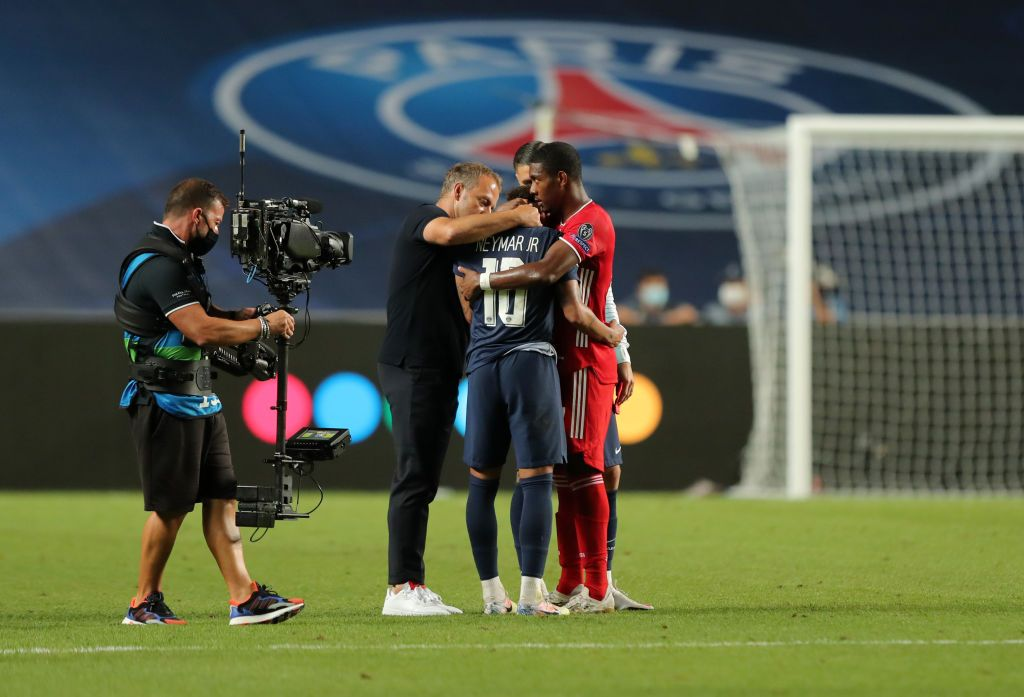 LISBON, PORTUGAL - AUGUST 23: Neymar of Paris Saint-Germain looks dejected during the UEFA Champions League Final match between Paris Saint-Germain and Bayern Munich at Estadio do Sport Lisboa e Benfica on August 23, 2020 in Lisbon, Portugal. (Photo by David Ramos/Getty Images)