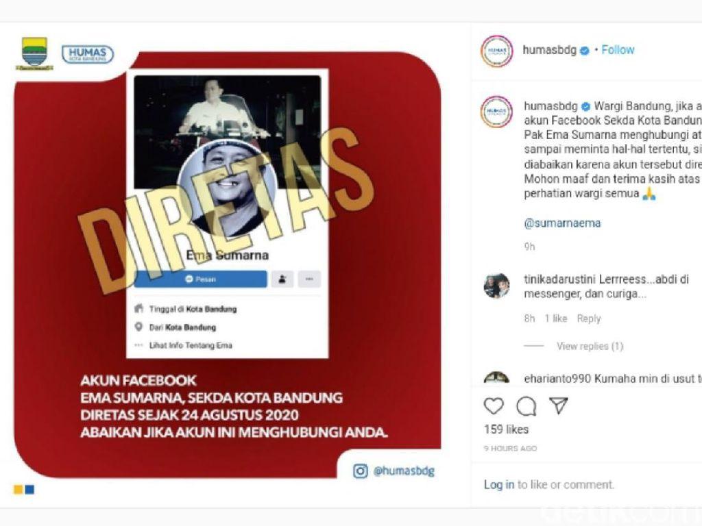 Waspada! Akun Facebook Sekda Kota Bandung Diretas