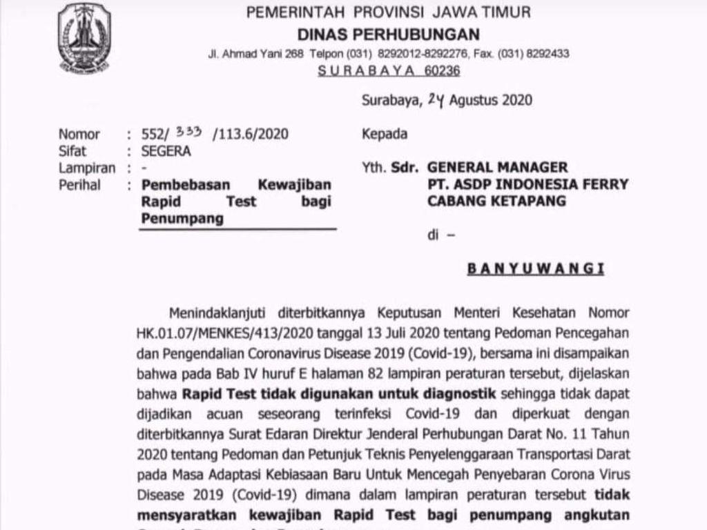 Ada Surat Edaran Penghapusan Wajib Rapid Test Bagi Penumpang Pelabuhan Ketapang