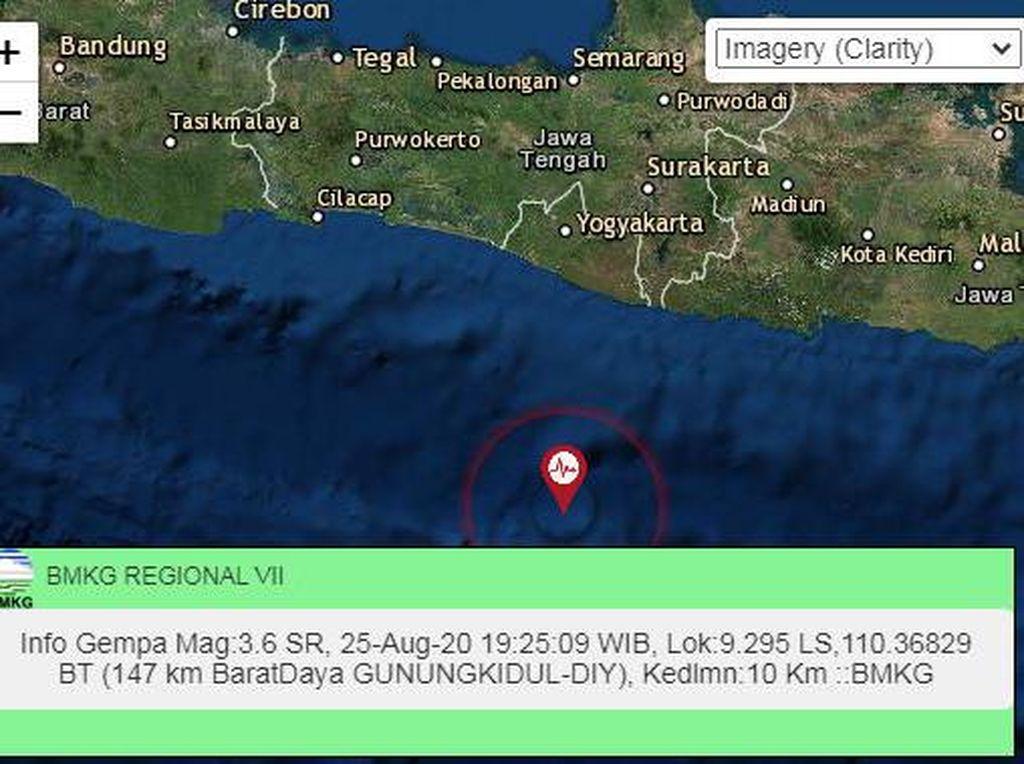 Gempa M 3,6 Terjadi di Gunungkidul Malam Ini