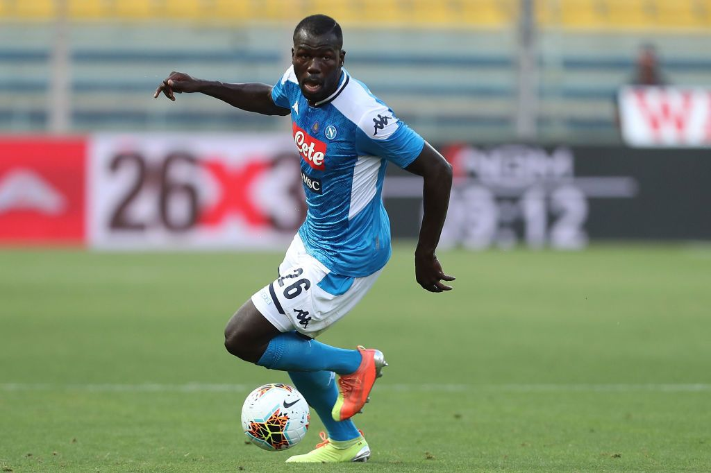 PARMA, ITALY - JULY 22: Kalidou Koulibaly of SSC Napoli in action during the Serie A match between Parma Calcio and  SSC Napoli at Stadio Ennio Tardini on July 22, 2020 in Parma, Italy.  (Photo by Gabriele Maltinti/Getty Images)