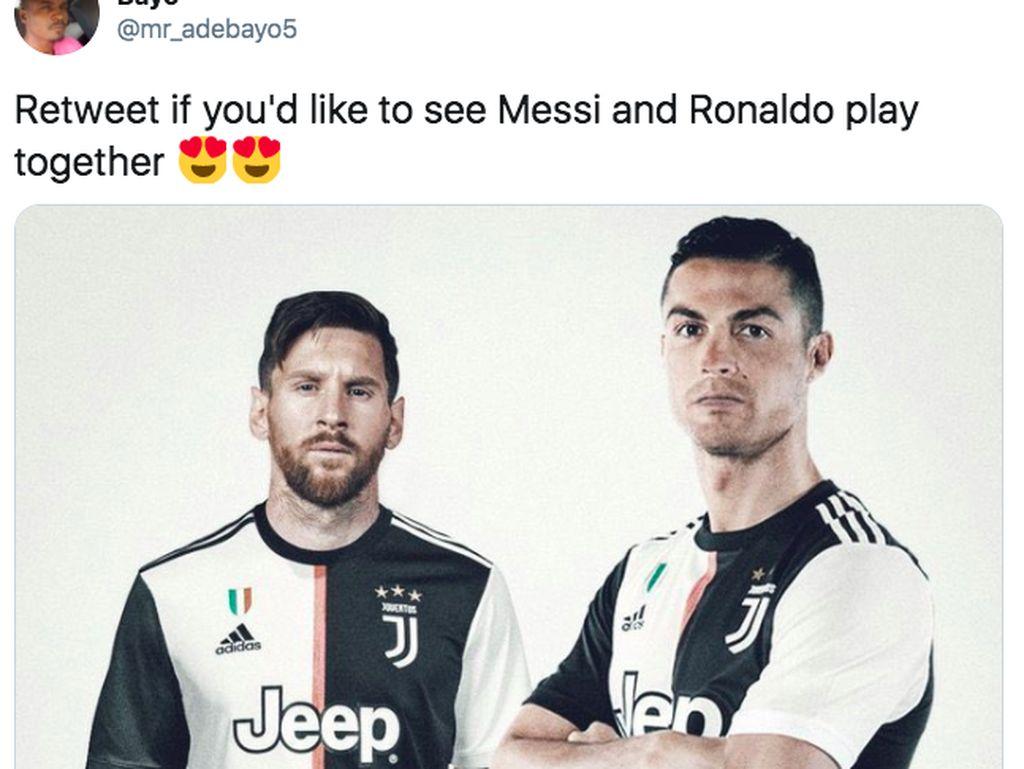 Meme Messi Tinggalkan Barcelona, Ronaldo Dibawa-bawa
