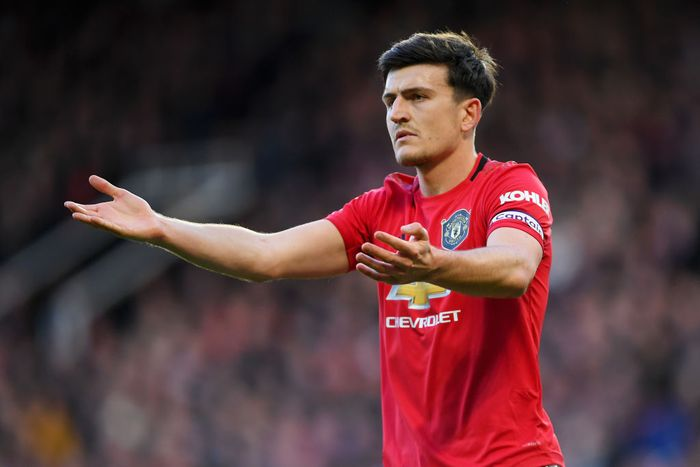 MANCHESTER, ENGLAND - MARCH 08: Harry Maguire of Manchester United reacts during the Premier League match between Manchester United and Manchester City at Old Trafford on March 08, 2020 in Manchester, United Kingdom. (Photo by Laurence Griffiths/Getty Images)