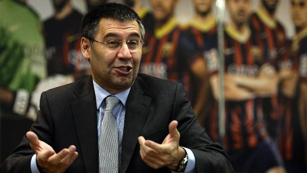 TO GO WITH AFP INTERVIEW FC Barcelona's president Josep Maria Bartomeu answers to AFP journalists during an interview at Camp Nou stadium in Barcelona on March 24, 2014. Bartomeu has insisted that Lionel Messi will become the world's highest paid footballer once negotiations over his new contract are finalised.     AFP PHOTO/ LLUIS GENE (Photo by LLUIS GENE / AFP)