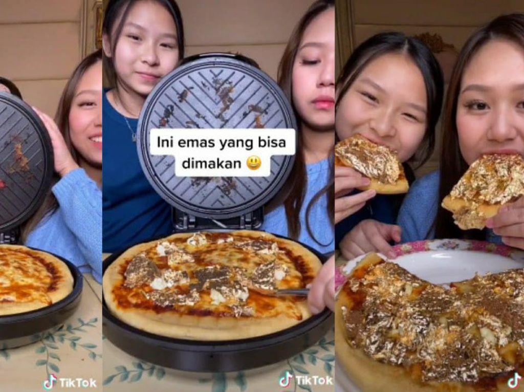 Kakak Adik Ini Pamer Bikin Pizza Topping Emas, Netizen: Sultan!