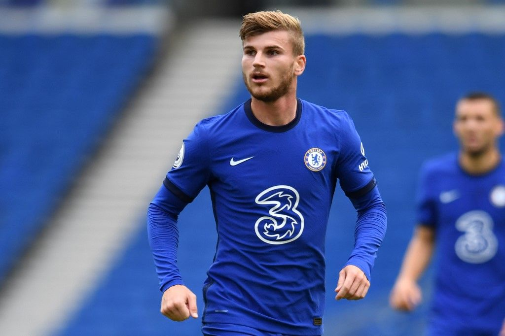 Chelsea's German striker Timo Werner is pictured during the pre-season friendly football match between Brighton and Hove Albion and Chelsea at the American Express Community Stadium in Brighton, southern England on August 29, 2020. - The game is a 'pilot' event where a small number of fans will be present on a socially-distanced basis. The aim is to get fans back into stadiums in the Premier League by October. (Photo by Glyn KIRK / AFP)