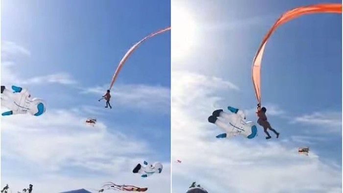 The three-year-old girl was entangled in the strings of a kite while attending a festival in Nanliao on Aug 30, 2020. (Image: Screengrabs from Facebook video/viasblog.tw)