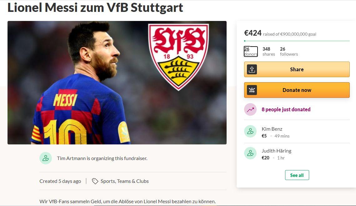 Penggemar VfB Stuttgart menggalang dana demi bisa menebus klausa rilis Lionel Messi dari Barcelona.
