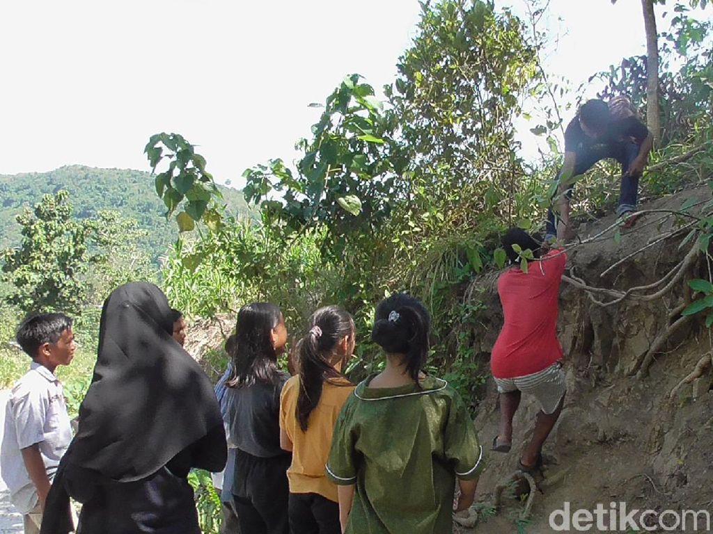 Susah Sinyal, Pelajar di Polman Tempuh 1 Km ke Bukit untuk Belajar Online