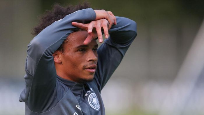 STUTTGART, GERMANY - AUGUST 31:  Leroy Sane of Germany looks on during a training session at ADM-Sportpark on August 31, 2020 in Stuttgart, Germany. Germany will face Spain in their UEFA Nations League group stage match on September 3, 2020. (Photo by Christian Kaspar-Bartke/Getty Images)