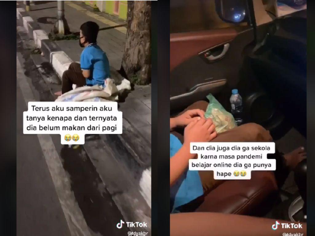 Netizen Ini Traktir Makan Bocah Pemulung yang Menangis Kelaparan